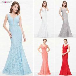 Pretty White Prom Dresses Australia - Lace Mermaid Long Ever Pretty Ep08838 Christmas Holiday Party Sexy V-neck Elegant Prom Gala Dresses Gowns Q190516
