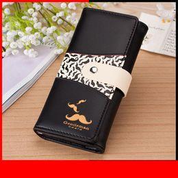 Clutch Wallet Lady Purse Handbag Australia - Brand Women Wallets Mustache Pattern Lady Handbags Coin Purse Hasp Moneybags Cards Id Holder Long Woman Clutch Wallet Burse Bags