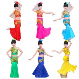 indian costume kids 2019 - 110-170cm Girls Belly Stage Dancing Costumes Children Sequin Shoulder Off Top+skirt Kids Indian Dress Performance Dance