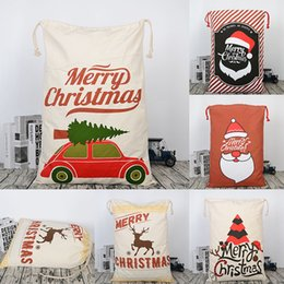 fabric gift bag christmas NZ - Christmas Large Canvas Gift Bag Monogrammable Storage Bags Santa Reindeers Drawstring Candy Bag Christmas Supplies WX9-743