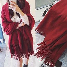 scarf trends 2020 - Winter 2019 women's tassel scarf solid color long shawls dual autumn and winter bifurcated trend cheap scarf trends