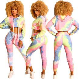 SportSwear Set online shopping - Women Fall Piece Set Hoodie Leggings Tracksuit Hooded patchwork Shirt Pant Sportswear tie dyed Long Sleeve Top gradient Outfits LJJA2953