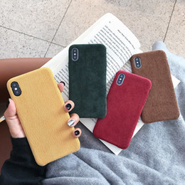 Solid Iphone Cases Australia - Winter Corduroy Cloth Phone Cases For Iphone X Xs Xr Xs Max Case For Iphone 6 6s 7 8 Plus Soft Cover Warm Simple Solid Color
