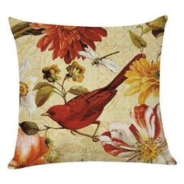 cushion cover black bird UK - NEW cushion cover 2020 Birds And Flowers decorative pillow cover 45x45cm Linen throw pillows Home Decorative housse de coussin