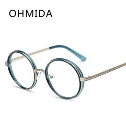 Discount myopia glasses male eyeglasses frame OHMIDA Newest Plain Glasses For Female Male Safety Myopia Mirror Frame Glass Accessories Vintage Metal Optical Frame Eye