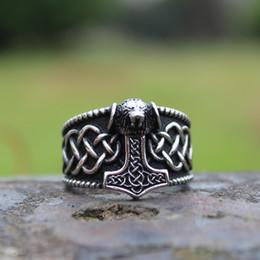 Hammer Ring Wholesale Australia - Viking Mjolnir Thor's Hammer Celtic Knot Ring Mens Nordic lion Stainless Steel Rings Amulet Jewelry