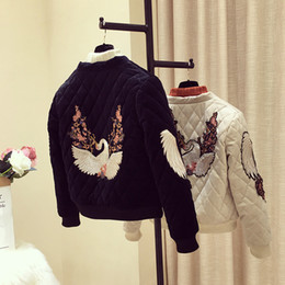 VelVet embroidered coat online shopping - Photo Shoot Gold Velvet Cotton Coat Women s Short New Winter Rhombus Cotton padded Clothes Embroidered Baseball Uniform Coat Thi