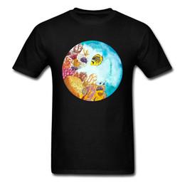 $enCountryForm.capitalKeyWord Australia - Sea Fish Awesome Clothing Men Cotton T-shirt Black Blue Soft Tops & Tees For Friends Custom Plus Size Watercolor Print
