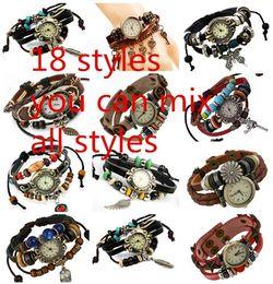 Frauen Aus Echtem Leder Vintage Quarzuhr Multi Layer Handmade Armband Armbanduhren Einstellbare Länge Paar Armbanduhren pksp15