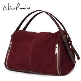 $enCountryForm.capitalKeyWord Australia - Nico Louise Women Real Split Suede Leather Boston Bag,original Design Lady Shoulder Traveling Doctor Handbag Top-handle Bags Sac Y19061204