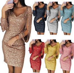 Silver mini bodycon Sequin dreSS online shopping - 2018 Sequin Dress Long  Sleeve Christmas Party Women 38302c9230dc