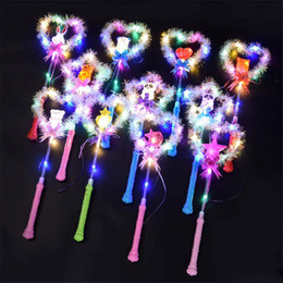 Flashing Fairy wands online shopping - Cartoon magic wand glow gold silk fairy stick flash five star love stick concert light stick toy