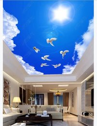 dive housing Canada - Custom 3D large silk ceiling mural photo wallpaper Beautiful blue sky and white clouds white dove living room ceiling zenith mural