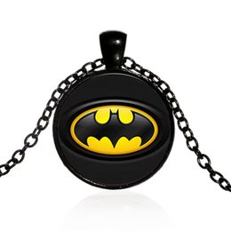 Batman Pendants Australia - Superhero Batman LOGO Time Gemstone Pendant Necklace Europe and America Fashion Glass Item Sweater Chain Wholesale