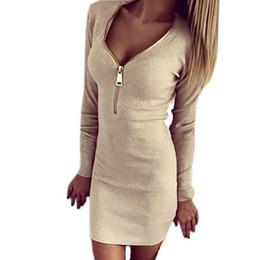 $enCountryForm.capitalKeyWord Australia - 2018 Autumn Winter Women Mini Dresses Sexy Stretch Zipper Bodycon Dress Sexy Long Sleeve V-neck Knit Dress Party Mujer #395371