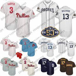 38f1a74c3 2019 Phillies Bryce Harper Jerseys Padres Manny Machado San Diego 50th  Patch  13  3 Philadelphia Men s Gray White Blue Navy Brown Red Cream