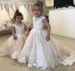 Images for lovely baby online shopping - 2019 New Lovely Flower Girl Dresses For Weddings Sheer Jewel Neck Tulle Appliques Little Kids Baby Gowns Custom First Communion Dresses
