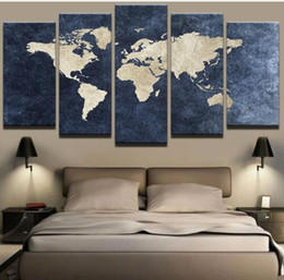 $enCountryForm.capitalKeyWord Australia - Modern Abstract Painting Print Canvas Poster Home Decor Wall Pictures 5 Pieces Blue World Map For Living Room Office Decorativ