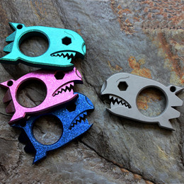 Wrenches Tool Key Chains Australia - Shark Style CNC Titanium TC4 Outdoor Survival Finger Tactical Multi EDC Opener Crowbar Prybar wrench Portable key Chain Broken window Tool