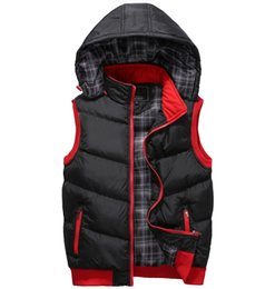 black sleeveless jacket men NZ - Winter Mens Hooded Vest Outerwear Lightweight Casual Travel Puffer Vest Warm Sleeveless Jacket Waistcoat for Men Black Red Army Green