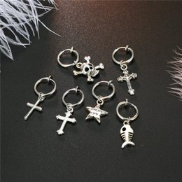 $enCountryForm.capitalKeyWord Australia - 1pc Cute Small Fish Star Cross Pendant Hoop Earrings For Women Punk Silver Color Skeleton Ear Clip Creative Earring Jewelry E359