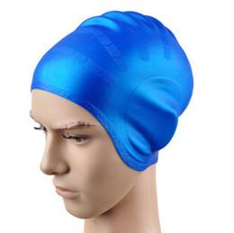 orejeras genuinas de silicona a prueba de agua gorros de natación hombres y mujeres XL equipo de natación profesional suministros sombrero de natación pelo largo en venta