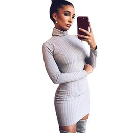 610144f343 Women Knit Sweater Dress Mini Ribbed Turtleneck Dress Long Sleeve Solid  Bodycon Casual Party Pullover Pencil Dress Vestidos 2019