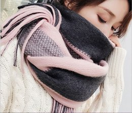 long fringe scarf wholesale Canada - Autumn and winter new color coarse stripe knitted scarf cashmere long fringe woollen shawl manufacturers wholesale 195x40cm