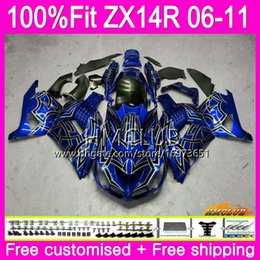 blue fairing zx14r Australia - Injection For KAWASAKI NINJA ZX 14R 1400 ZX14R 06 07 08 09 10 11 72HM.20 ZZR1400 ZX-14R 2006 2007 2008 2009 2010 2011 Fairing Blue silver