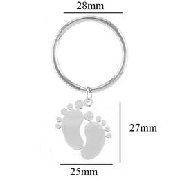 $enCountryForm.capitalKeyWord NZ - Baby Foot Key Ring Stainless Steel Mirror Polished Key Chain Fob Accessory Birthday Gift for Mother Wholesale 20pcs