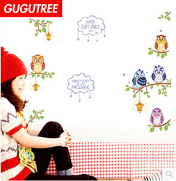 Large owL tree decaL online shopping - Decorate Home owl trees cartoon wars art wall sticker decoration Decals mural painting Removable Decor Wallpaper G