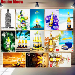 pub cafe bar wall decoration UK - Corona Extra Beer Plaque Metal Tin Sign absolut Miller Time Wall Art Poster Bar Pub Cafe Club Decoration Home Decor Factory hot sale