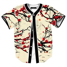 baseball jersey tops Australia - Summer Style Hipster Hip Hop tee Shirt Men Women 3D Floral Print T-shirt Baseball Jersey Street Casual V-neck Buon Down Tops