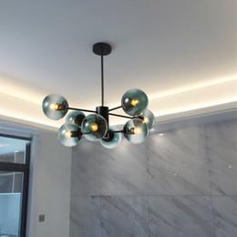 Kitchen Cafe Australia - 6   8   10  12 Head Nordic Art Kitchen Pendant Light Creative Magic Beans Sky bule Glass Ball Bar Cafe E27 Lights Free Shipping