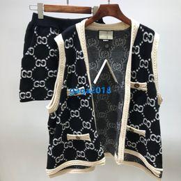 Wholesale knit sleeveless cardigan for sale - Group buy high end women girl knit set vest sweater interlocking letter striped sleeveless cardigan shorts jogging legging trouser fashion tracksuit