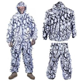 camouflage suits UK - Hunting Clothes Ghillie Suit White Snow Camouflage Hunting 3d Pant Include Birdwatch Leaf Maple Clothes And Jacket F4V6