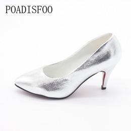a2179d43ada Designer Dress Shoes 2019 Spring And Summer New Korean Style Women Pointed  High Heels Silver Golden Shiny Wedding .LSS-707