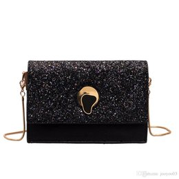 $enCountryForm.capitalKeyWord Australia - Fashion Personality Sequins Small Bags Female New Wild Shoulder Bags Brand Design PU Leather Messenger Packs Trendy Chain Square Packages