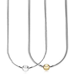 Sterling Silver Chains Women Australia - New 925 Sterling Silver Necklace Moments Lobster Ball Clasp Smooth Snake Chain Necklace For Women Wedding Gift Pandora Jewelry