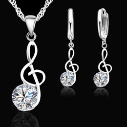 $enCountryForm.capitalKeyWord Australia - Musical Notes Cubic Zirconia Inlaid Pendant Necklace Huggie Earrings Jewelry Set New Chic