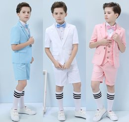 Royal Performance Suits Australia - Three-piece Short Sleeve And Pants Blue Pink White Summer Boys Formal Party Wear Clothing Set Children Prom Performance Costume Tuxedos