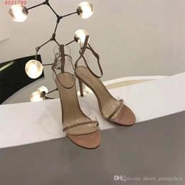 Strap Strip Australia - High-heeled sandals two slim translucent PVC strap sexy big Fashion strip high-heeled sandals Black red nude 8cm high
