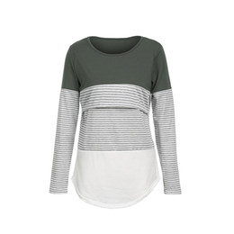 49c585f5ed Wholesale Green Striped T Shirts Australia - Maternity Striped T Shirt  Women Long Sleeves Tops Shirts