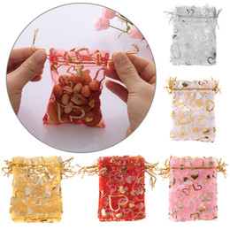 drawstring pouch 18cm UK - 10pcs 7*9 9*12 13*18cm Heart Organza Gift Bag Cute Candy Package For Wedding Party Decor Favor Jewelry Gift Drawstring Pouch
