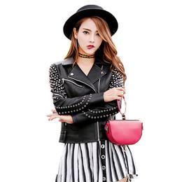 $enCountryForm.capitalKeyWord Australia - Retro Gossip Rivet Motorcycle Leather Jacket Women Short Zipper Biker Jacket 2019 New Streetwear Punk Style Faux Leather