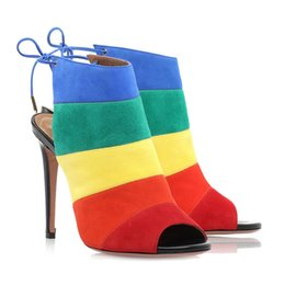 $enCountryForm.capitalKeyWord Australia - Sweet fashion suede rainbow color matching candy color sandals handmade high heel straps boots ladies high heel stiletto shoes