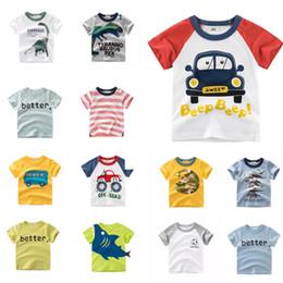 Kids Designer T Shirts NZ - Kids Designer Clothes Tees Summer Infant Cotton Children Boys Girls Cartoon Dragon Shark Girls Short Sleeve Contrasted Striped T-shirts Tops