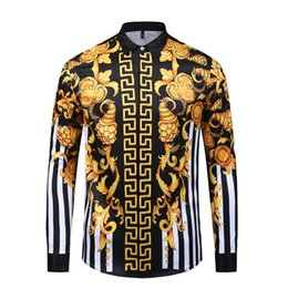 slim fit mens floral shirt UK - Fashion Designer Men Shirts 3D Medusa Black Gold Floral Print Mens Long Sleeved Business Casual Slim Fit Shirts