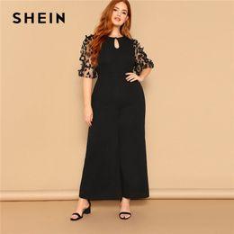 2815d2eb6e SHEIN Black Women Applique Half Mesh Sleeve Palazzo Plus Size Wide Leg  Jumpsuits 2019 Spring Elegant Office Lady Loose