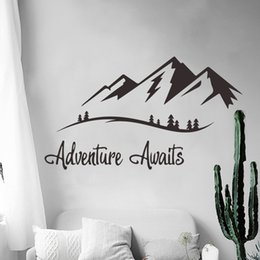 Art Sticks Australia - Adventures Awaits Wall Decals Vinyl Mountain Wall Art Sticker for Living Room Study Bedroom Decoration Travel Decal Nordic Wall Stick